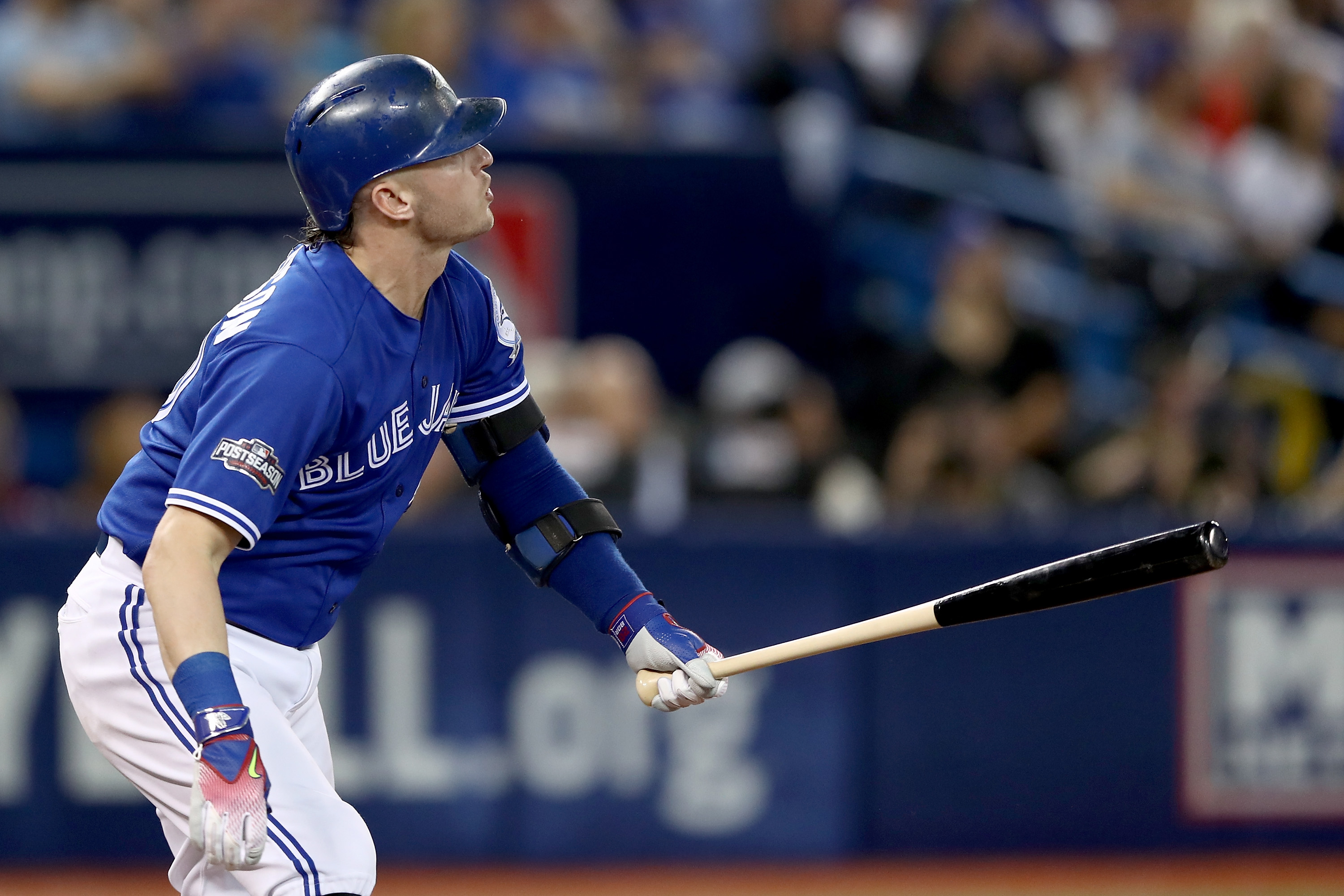 Josh Donaldson of the Toronto Blue Jays hits a solo home run in the third inning against Corey Kluber of the Indians during Game Four of the ALCS Tuesday (Getty Images)