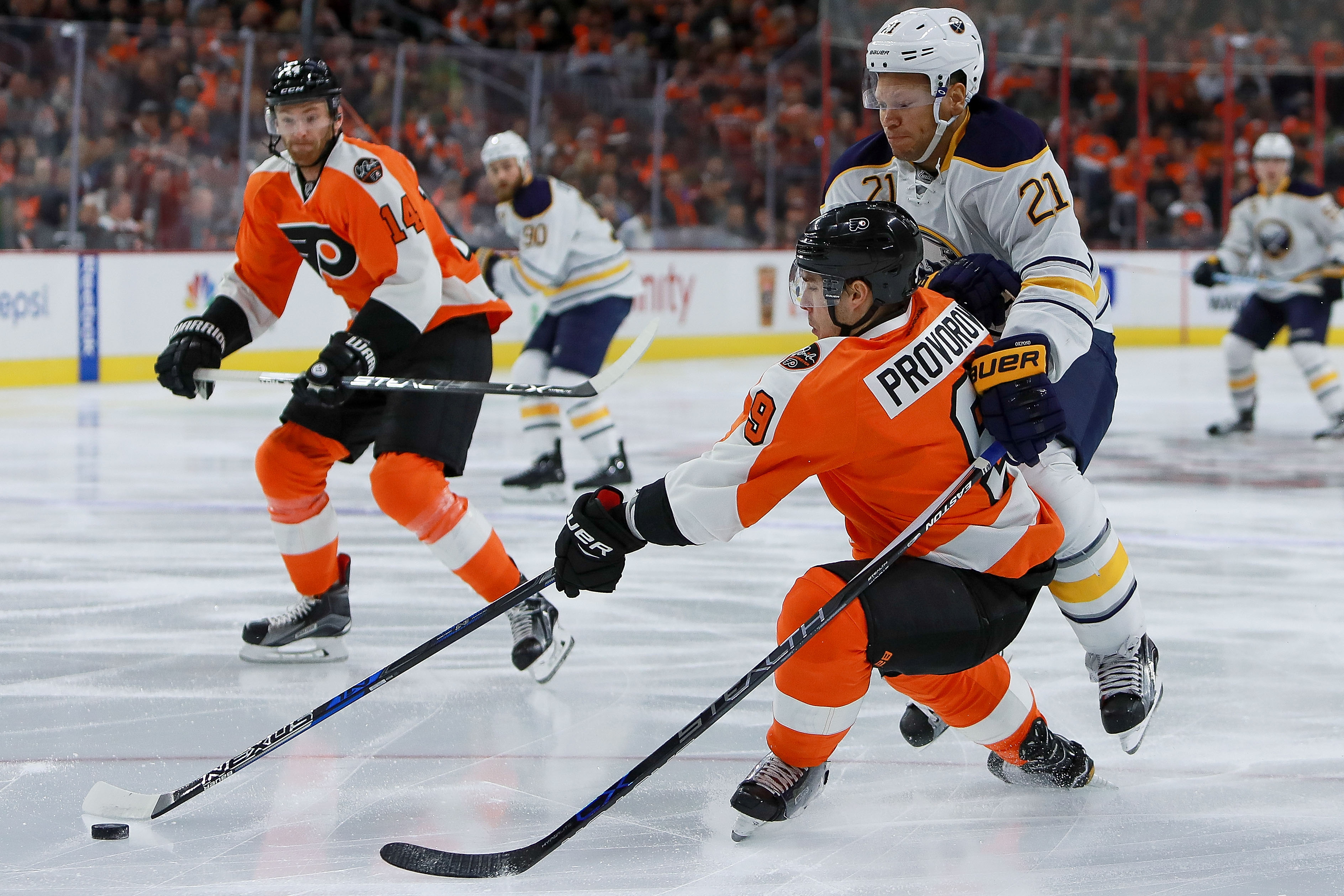 The Sabres are hoping to learn the lessons from a third-period collapse in Philadelphia.  (Photo by Michael Reaves/Getty Images)