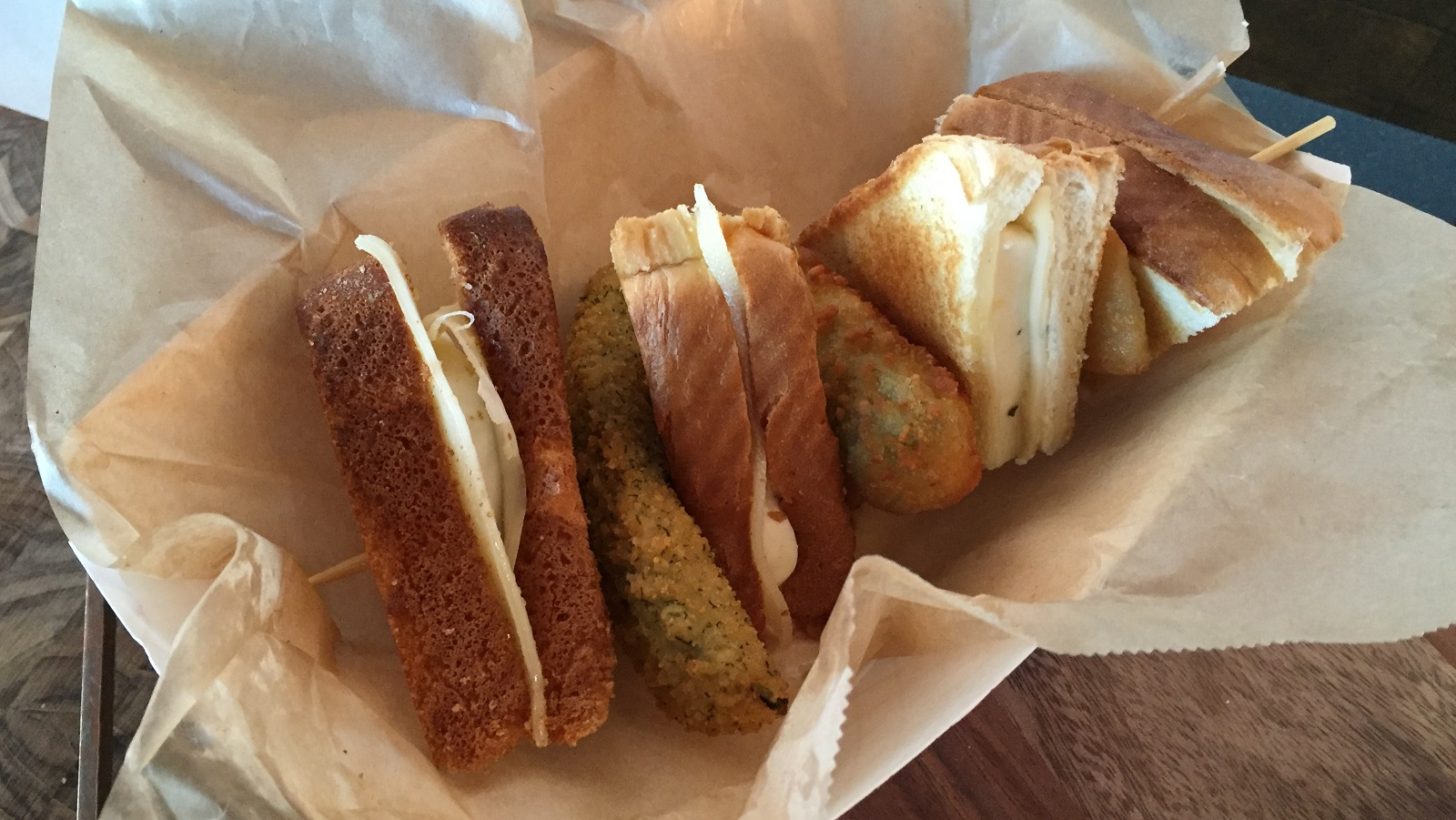 The Grilled Cheese Kabob comes with a fried pickle, onion ring and jalapeno popper. (Aaron Besecker/Buffalo News)