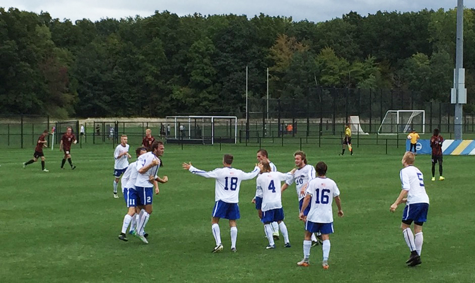 Fredonia celebrates David Trabold's first-half goal. (Ben Tsujimoto/Buffalo News)