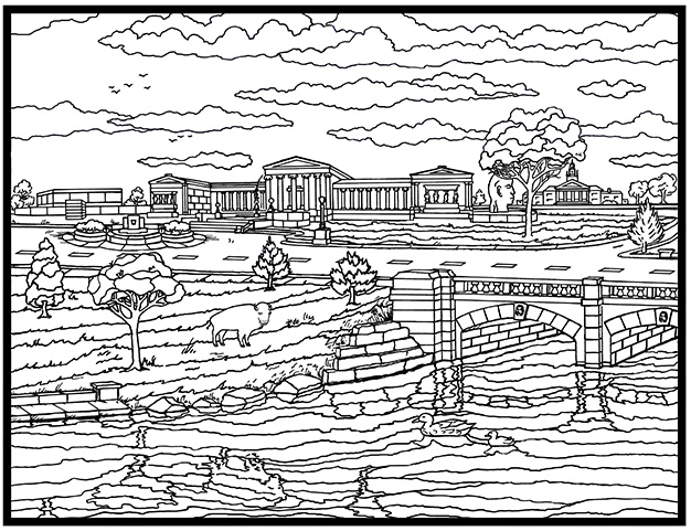 The Albright-Knox Art Gallery, as depicted by Daniel Predmore in his 54-page coloring book.