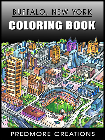 Daniel Predmore selected an aerial view of Buffalo for the cover of his coloring book.