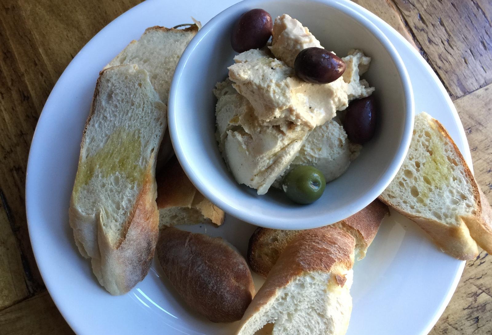 Hummus and bread at Hearth + Press. (Andrew Galarneau/Buffalo News)
