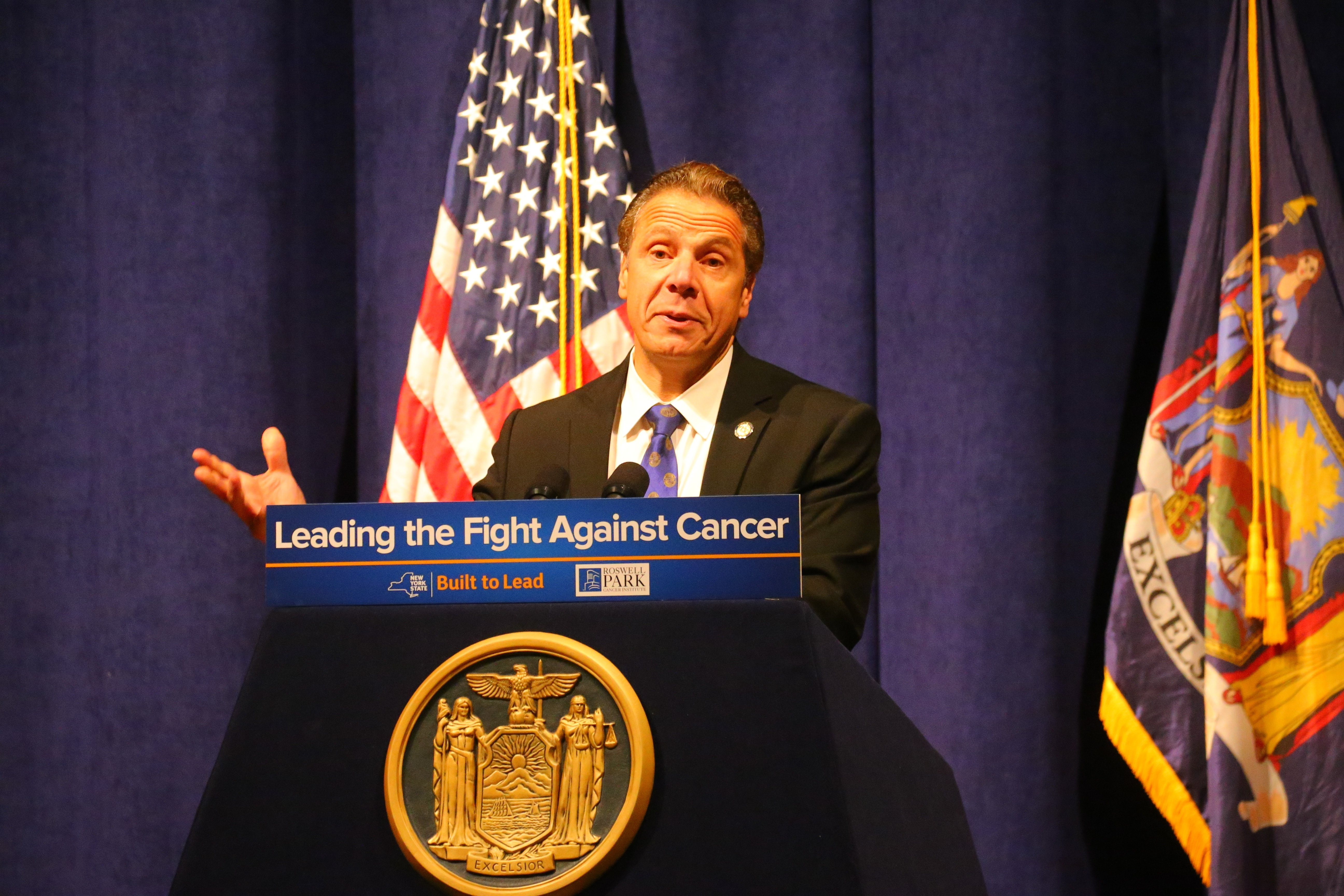Gov. Andrew M. Cuomo addressed a packed auditorium at Roswell Park Cancer Institute on Wednesday. (John Hickey/Buffalo News)