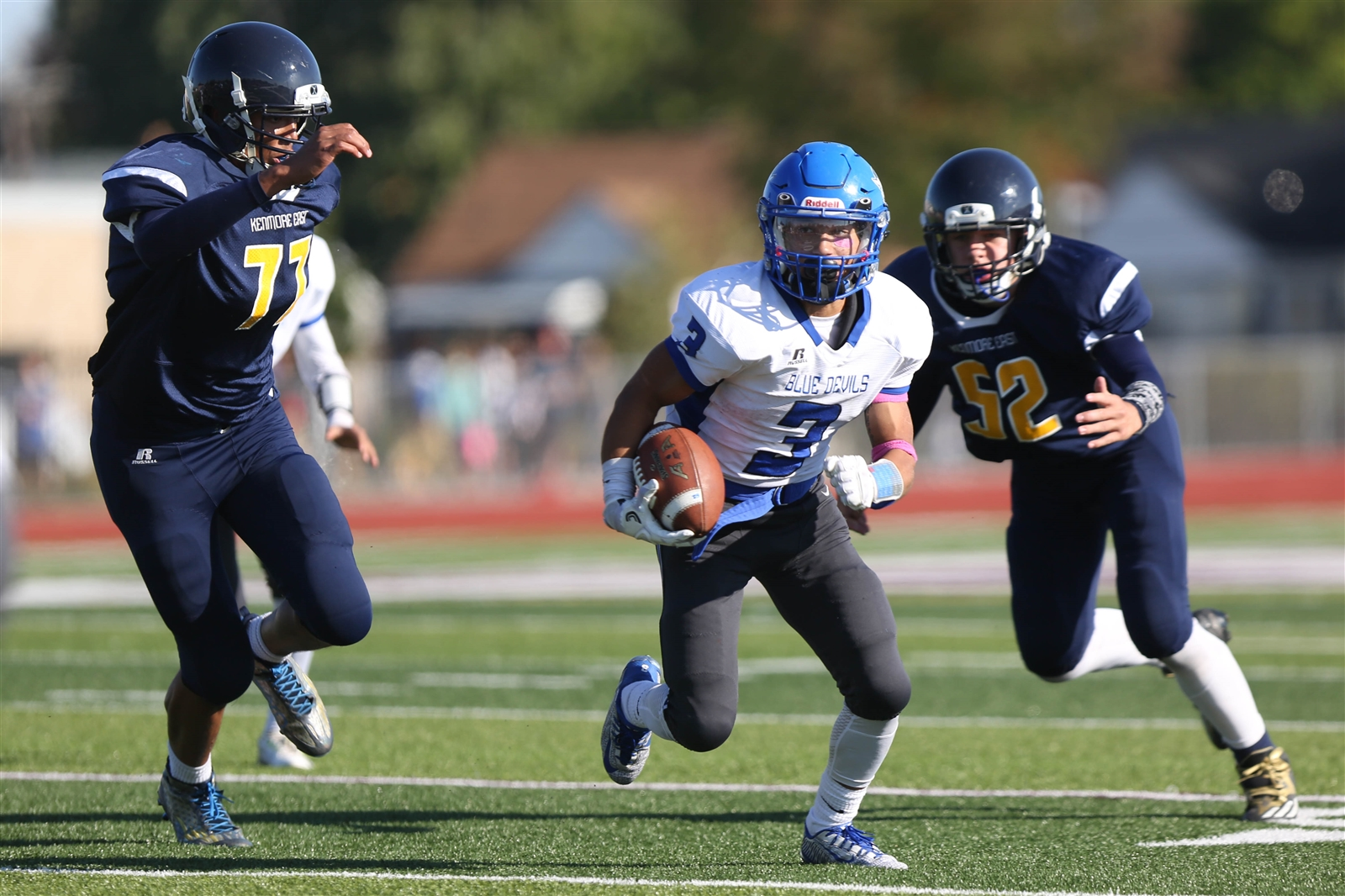Kenmore West senior Erriono Giardina ran 21 times for 247 yards and four touchdowns in a 41-6 rout over Kenmore East. (Dave DeLuca/Special to The News)