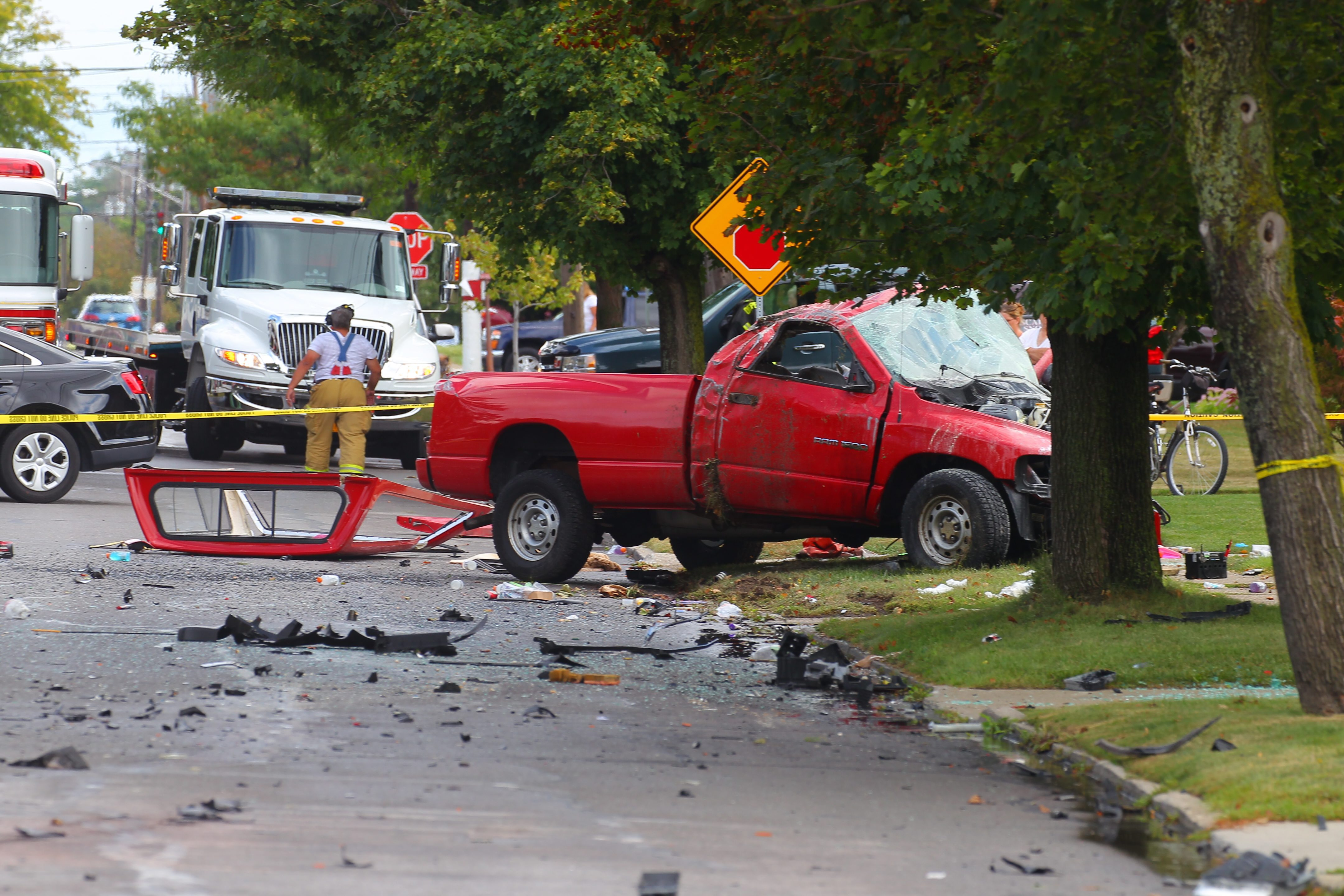 The wreckage of a sedan and a pickup truck after a collision, that that left one driver dead, and two injured on French Road between Beverly Drive and Alys Drive E. in Depew, N.Y., on Wednesday, Sept. 9, 2015.Depew Police are conducting an investigation. (John Hickey/Buffalo News)