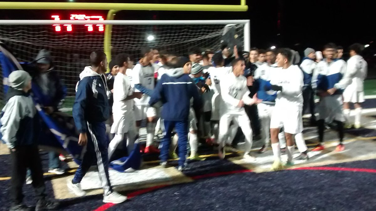 Lackawanna celebrates its B-2 soccer championship.