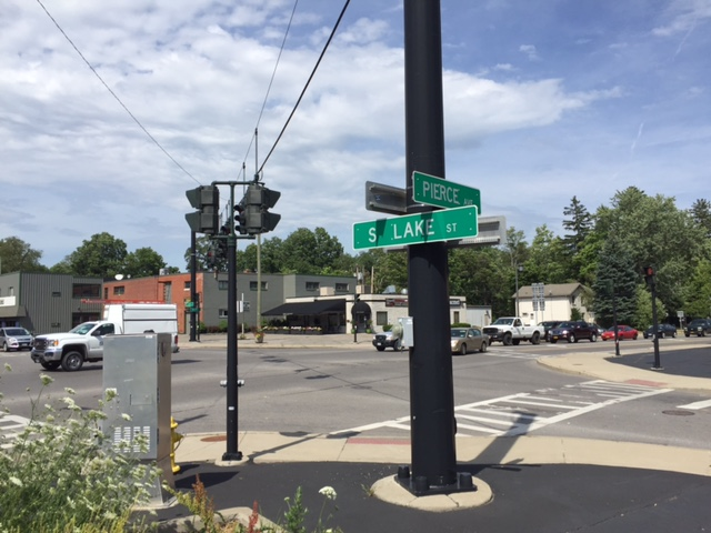 The intersection of Lake Street with Main Street and Pierce Avenue in Hamburg could be next for a roundabout. (Barbara O'Brien/Buffalo News)