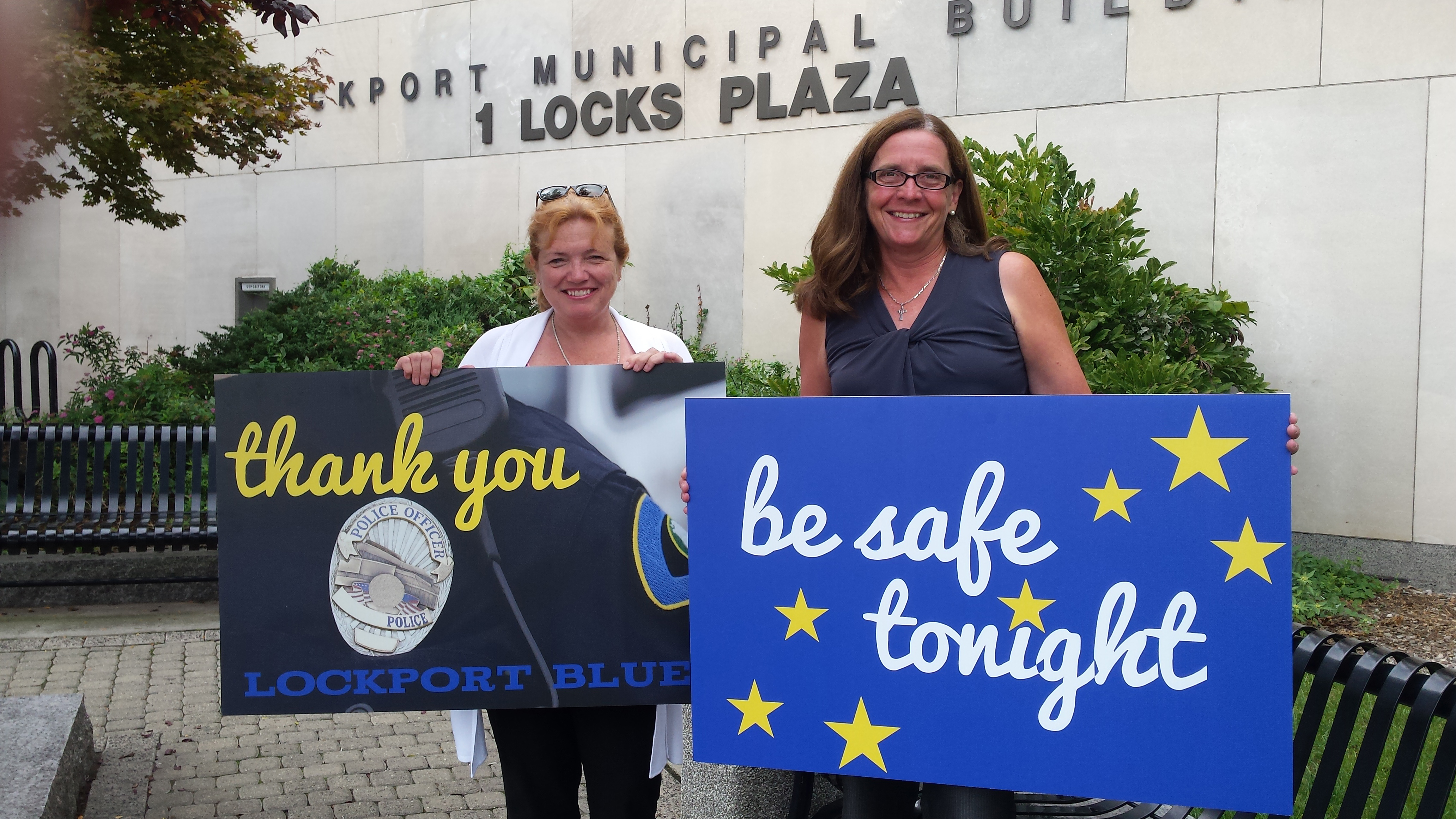 Ellen Martin (left) and Mary Brennan Taylor launched a public campaign on Oct. 1, 2016 to show support for the City of Lockport Police Department.