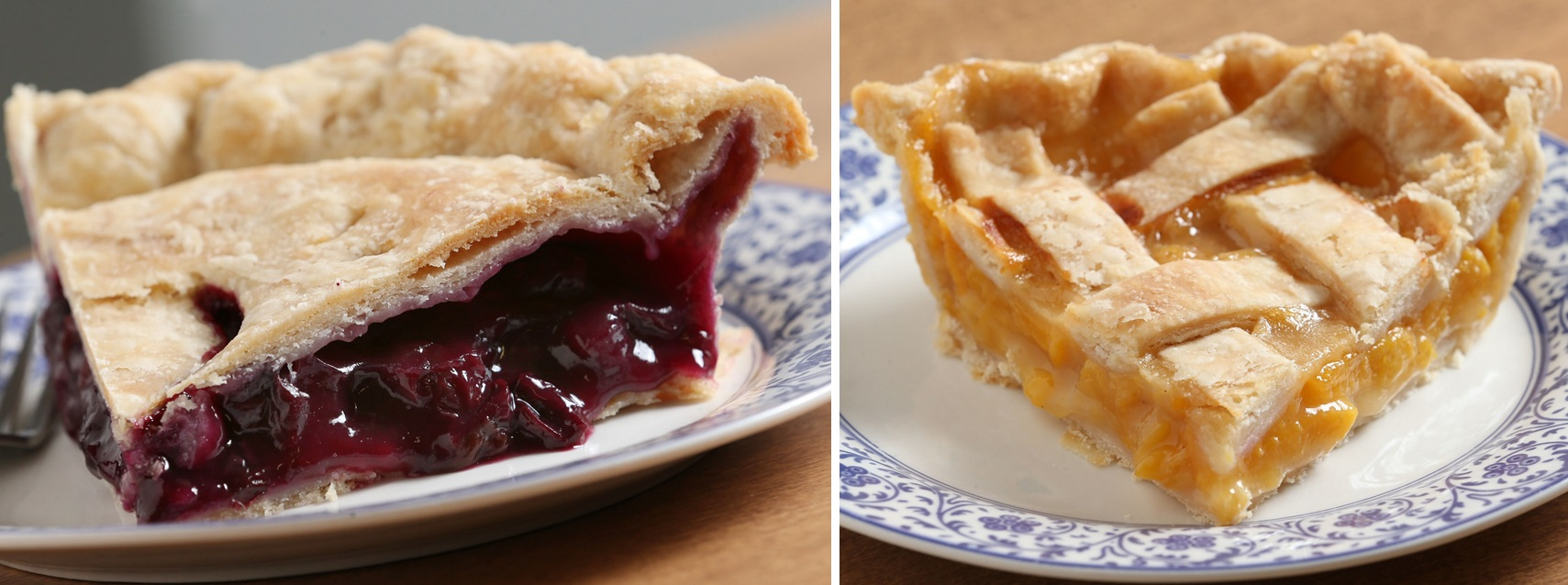 Two standout pies from Portage Pie are the Concord grape pie, left, and the peach-lattice pie. (Sharon Cantillon/Buffalo News)