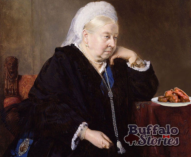 With the help of Photoshop, an image of Queen Victoria and a plate of chicken wings. (Buffalo Stories illustration)