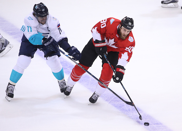 Ryan O'Reilly works against Team Europe's Anze Kopitar during Game One of the World Cup final (Getty Images).