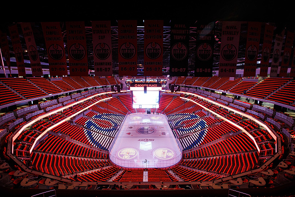 Edmonton's Rogers Place was decked out in orange for Wednesday's inaugural game (Getty Images).