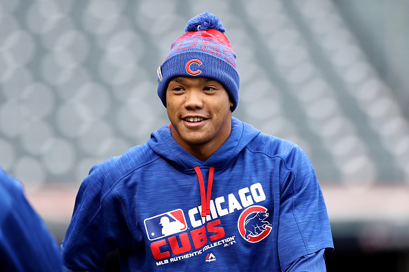 Addison Russell and the Cubs were all smiles Monday during World Series Media Day in Cleveland (Getty Images).