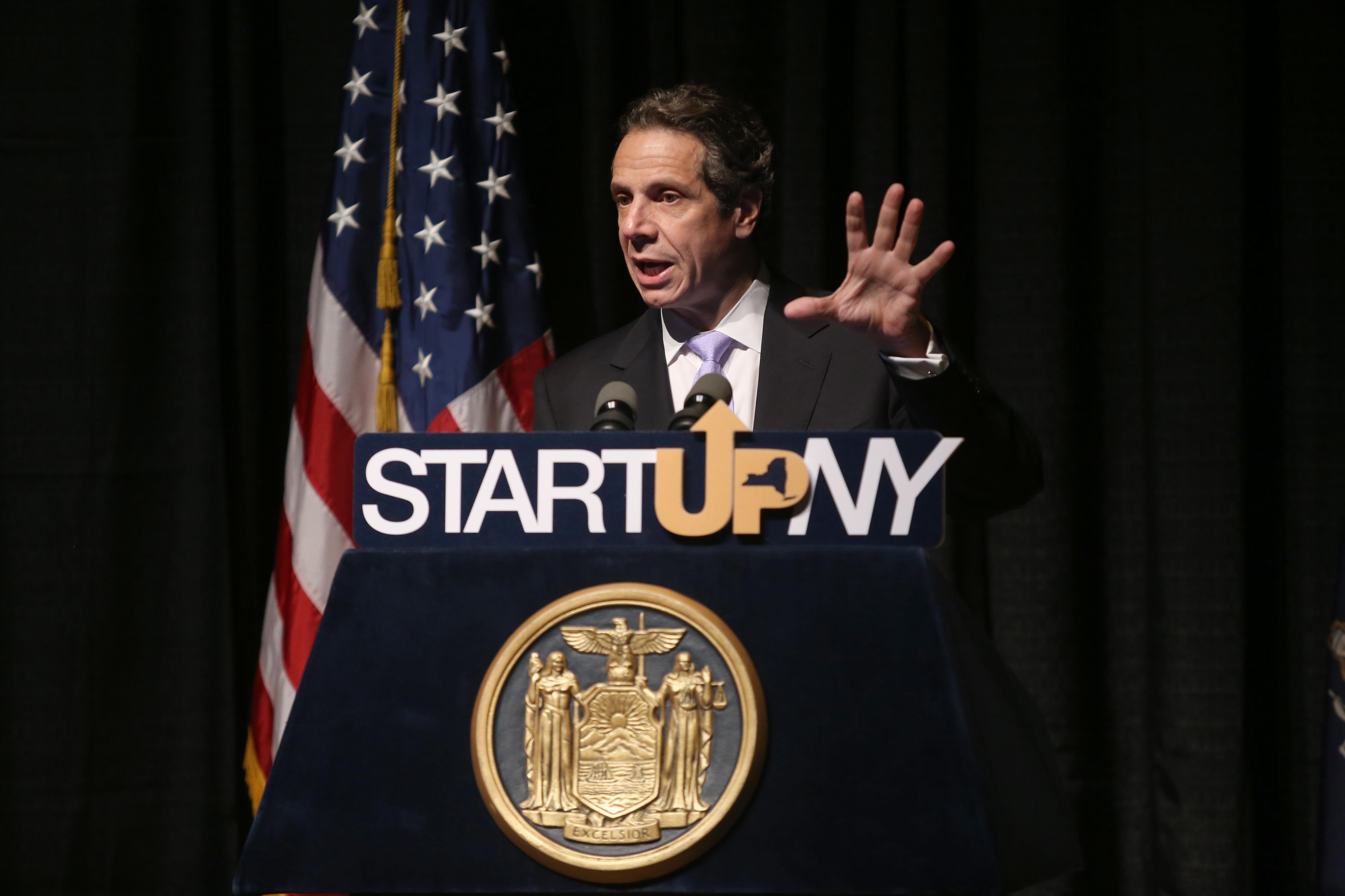 New York State Governor Andrew Cuomo talks about the Start-Up NY economic development plan in 2013. (News file photo)
