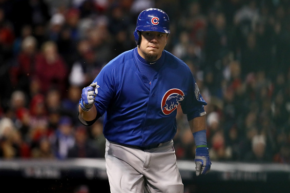 Cubs DH Kyle Schwarber is pumped about his RBI single in the third (Getty Images).