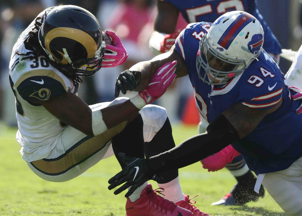 Bills defensive end Jerel Worthy brings down the Rams' Todd Gurley during Sunday's win. (James P. McCoy/Buffalo News)