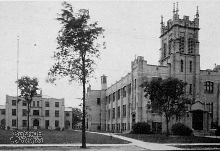 St. Margaret's church and school, early 1930s. This building is currently under renovation into street-level retail and apartments. A façade was added to the building in the 1960s for the use of the school after the current St. Margaret's church building was built in 1957.