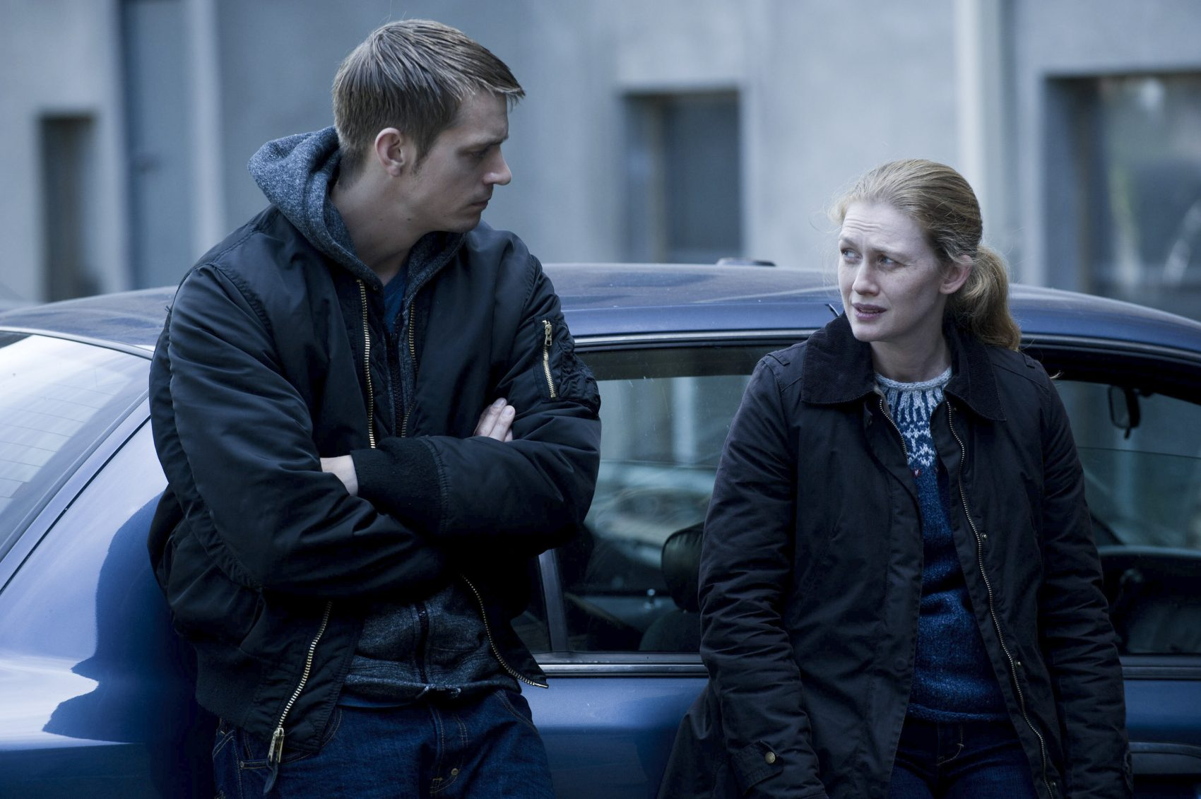 "Joel Kinnaman and Mireille Enos star in ""The Killing."" (Carole Segal/AMC)"