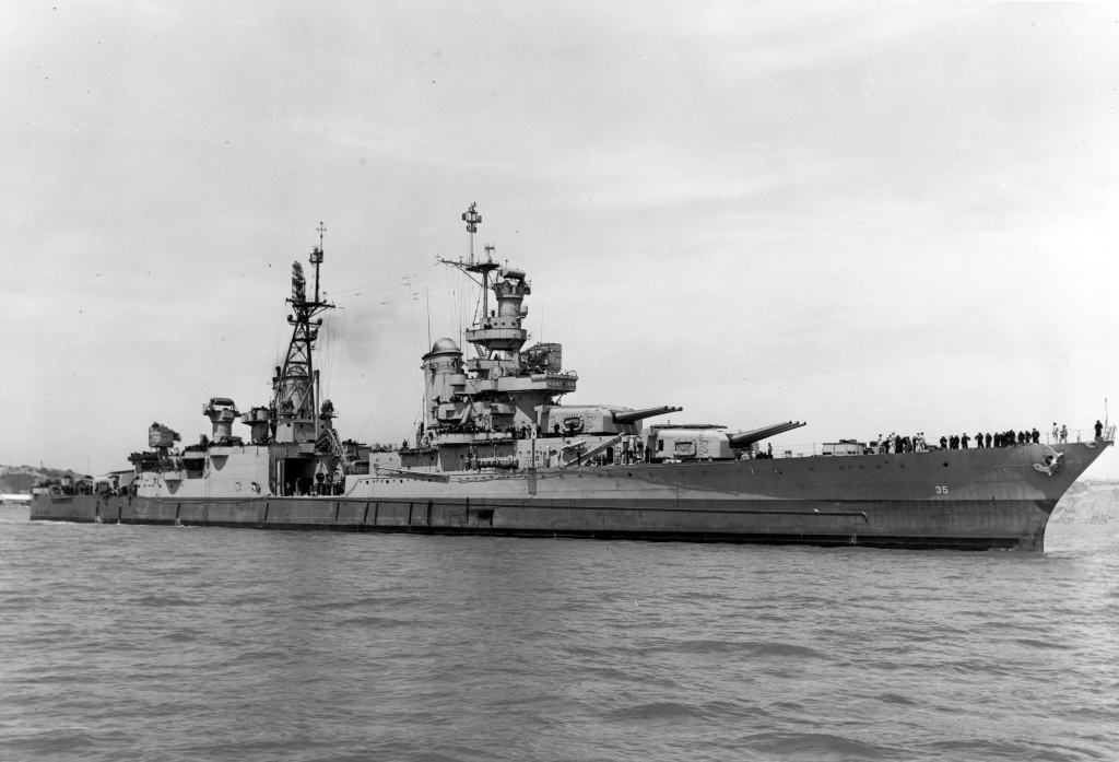 USS Indianapolis is shown off the Mare Island Navy Yard, in July 1945, shortly before delivering atomic bomb components to Tinian and just 20 days before she was sunk by a Japanese submarine.