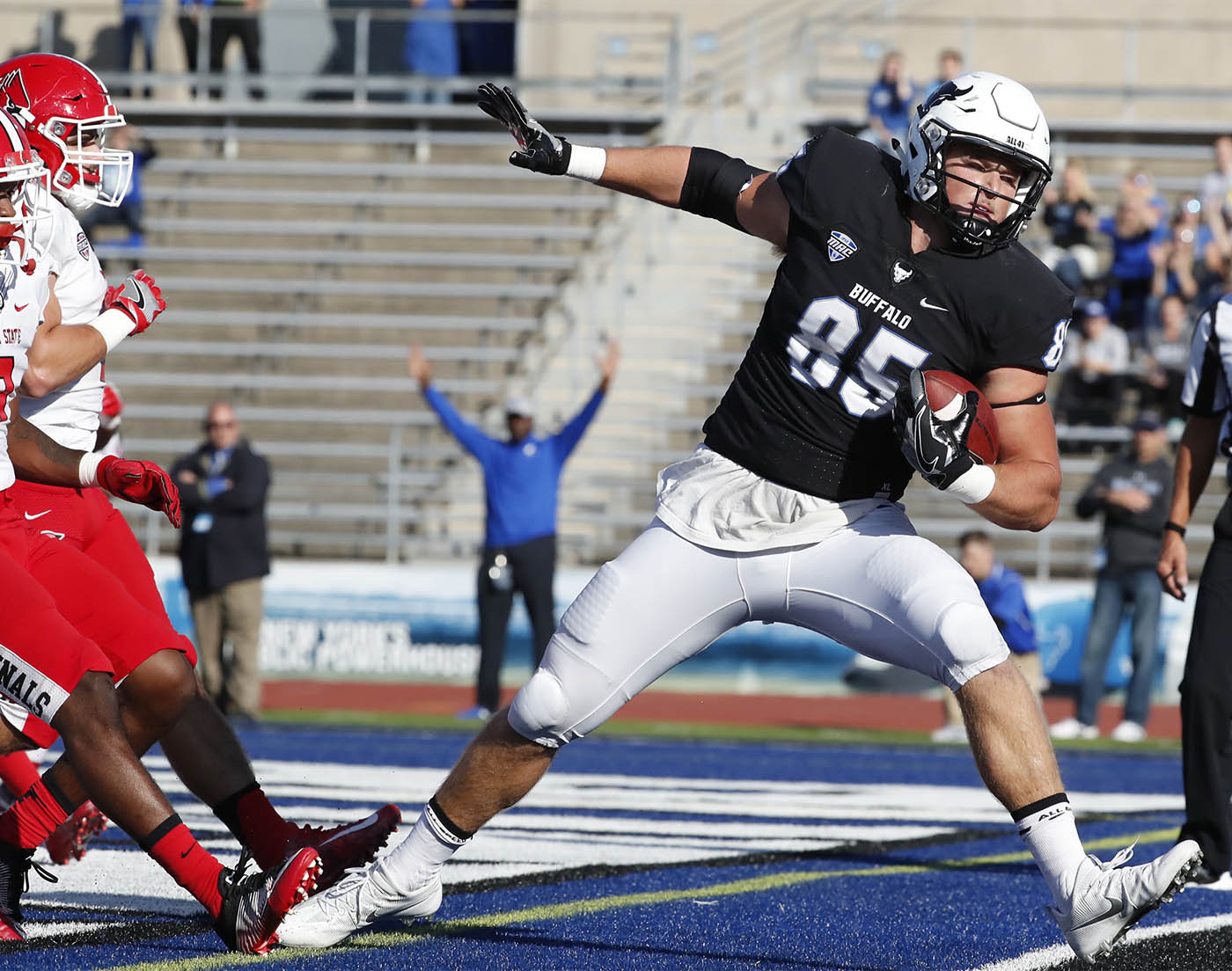 University at Buffalo tight end Mason Schreck catches a touchdown pass against Ball State during first half action on Saturday,Oct. 15, 2016.(Harry Scull Jr./Buffalo News)