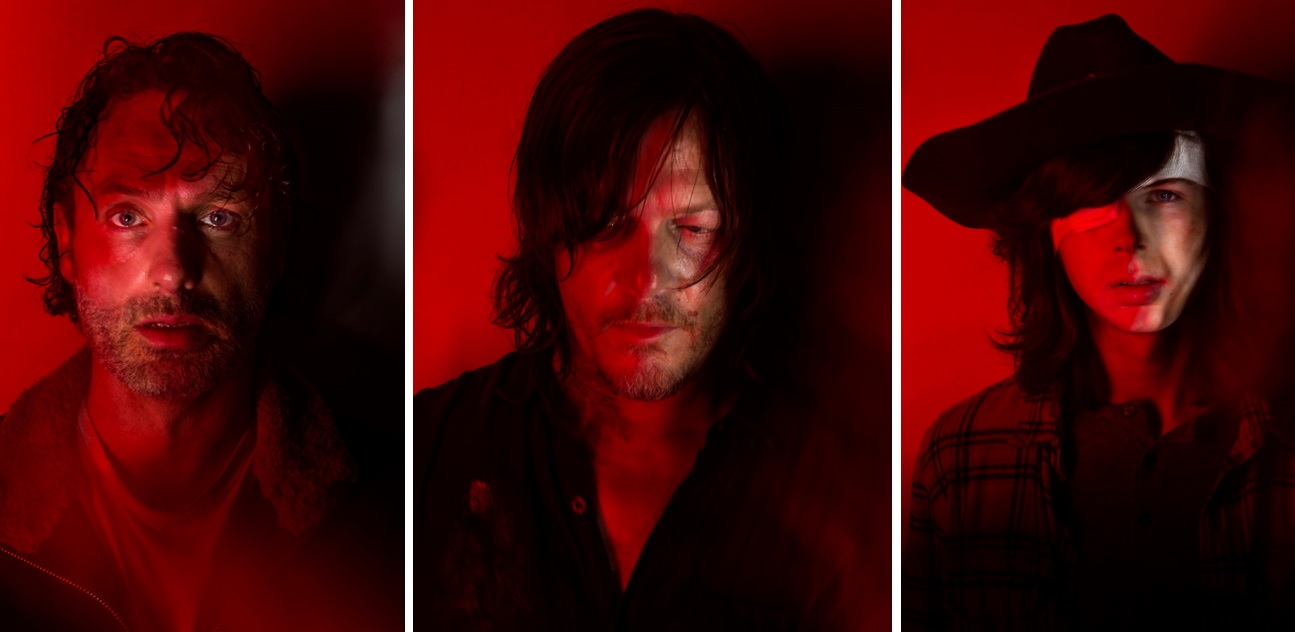 Rick (Andrew Lincoln), Daryl (Norman Reedus) and Carl (Chandler Riggs).