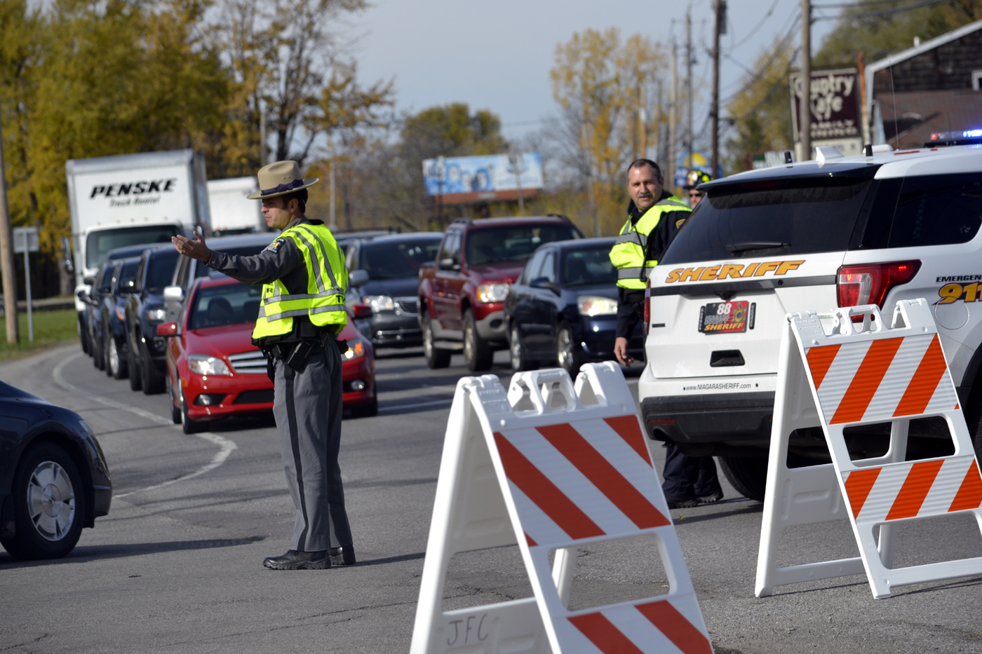 Police diverted traffic away from the 2900 block of Niagara Falls Boulevard in Wheatfield on Monday, Oct. 31, 2016 while they surrounded a house where a man was inside with a gun.