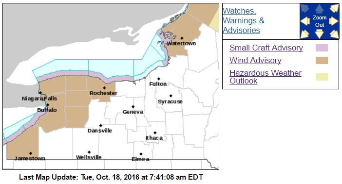 A wind advisory in in place for most of Western New York, including Buffalo and Erie County until 8 p.m. (NWS graphic)