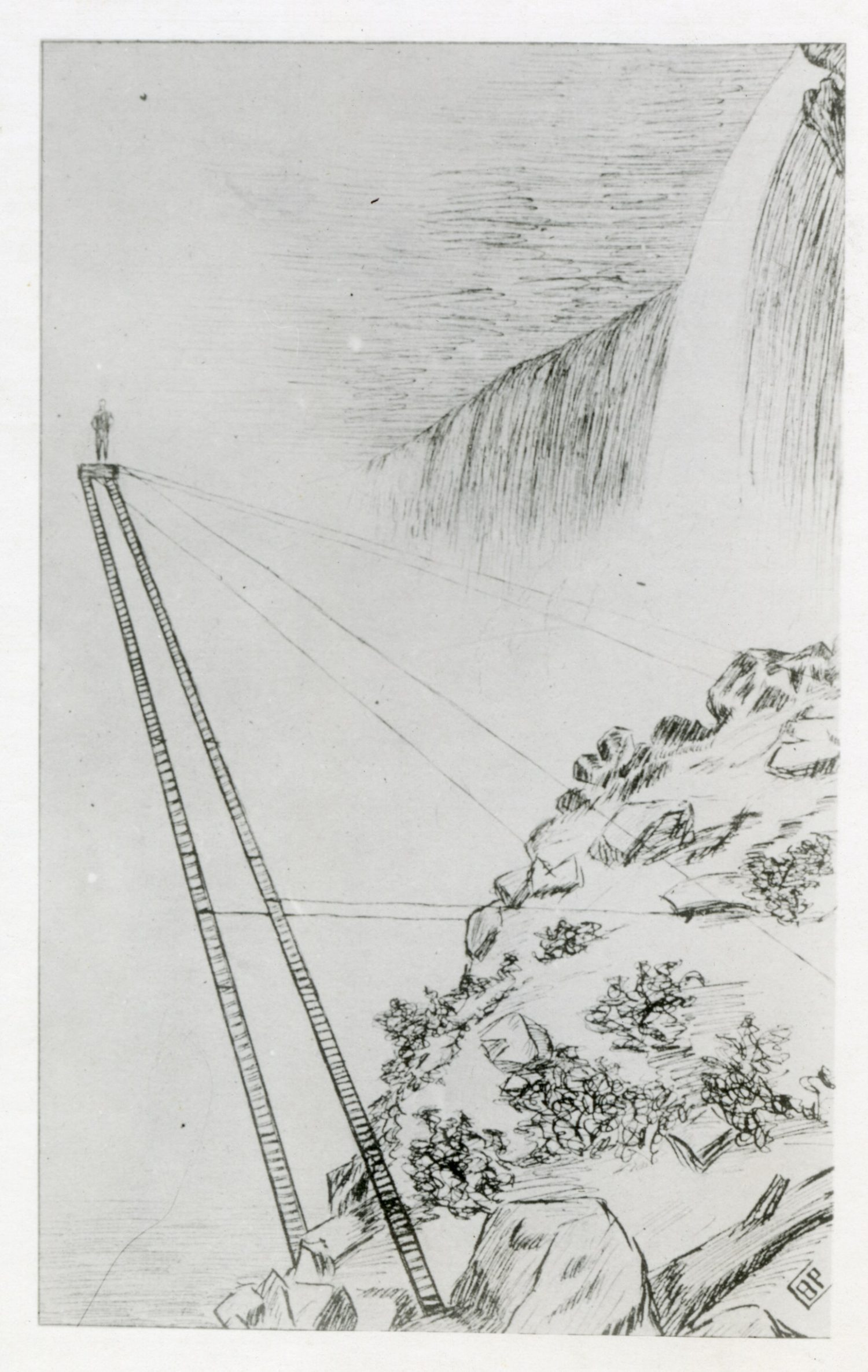 This image shows the platform that Sam Patch jumped from. It was a combination of two ladders, ropes and chains that were fastened to the rock on Goat Island. (Image courtesy of Niagara Falls Public Library's Local History Department)