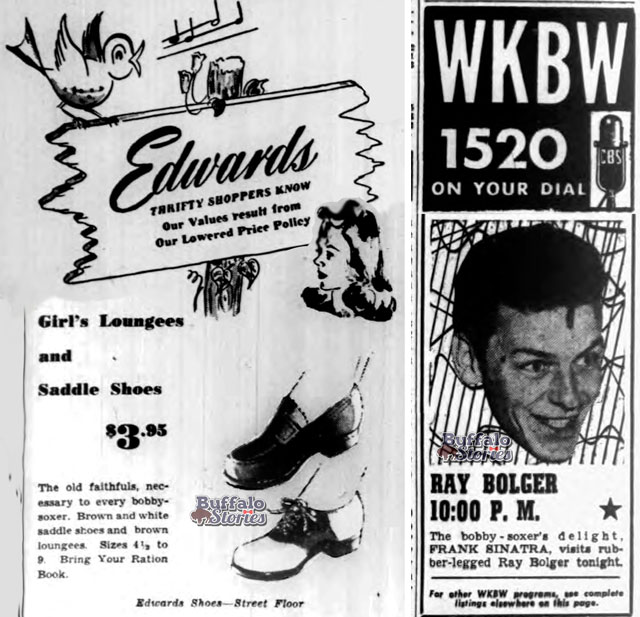 """Frank Sinatra sang with Tommy Dorsey Orchestra and his popularity exploded when he became a singing front man himself. His young fans, """"bobbysoxers,"""" were the first """"teenagers"""" to swoon in force at the voice of a matinee idol and singing sensation. In Buffalo, radio programs and downtown shoe sales were targeted directly to bobbysoxers just after the war."""
