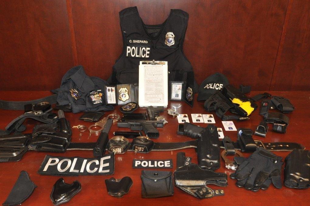 The police-related items found in Corey Shepard's Wanda Avenue home. (Cheektowaga police)