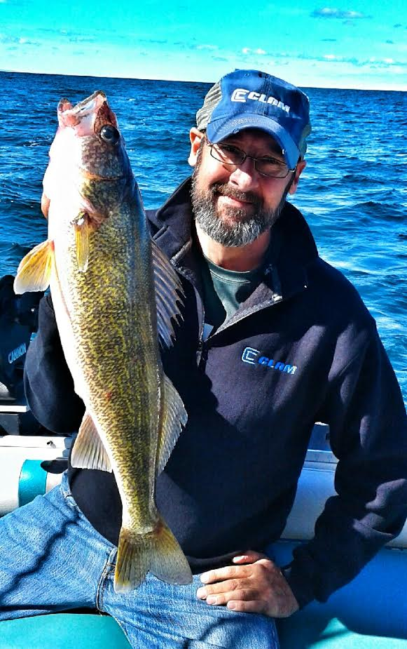 Dan Stefanich, director of marketing for Clam Outdoors and a media person himself, reeled in some nice walleye while fishing with Lance Ehrhardt of Sassafras Charters out of Dunikirk.