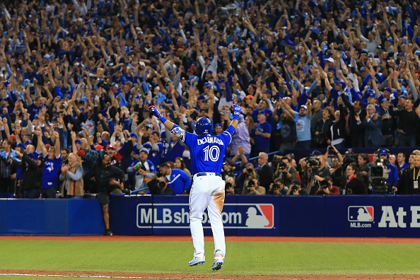 Edwin Encarnacion celebrates his game-winner with the Rogers Centre crowd (Getty Images).