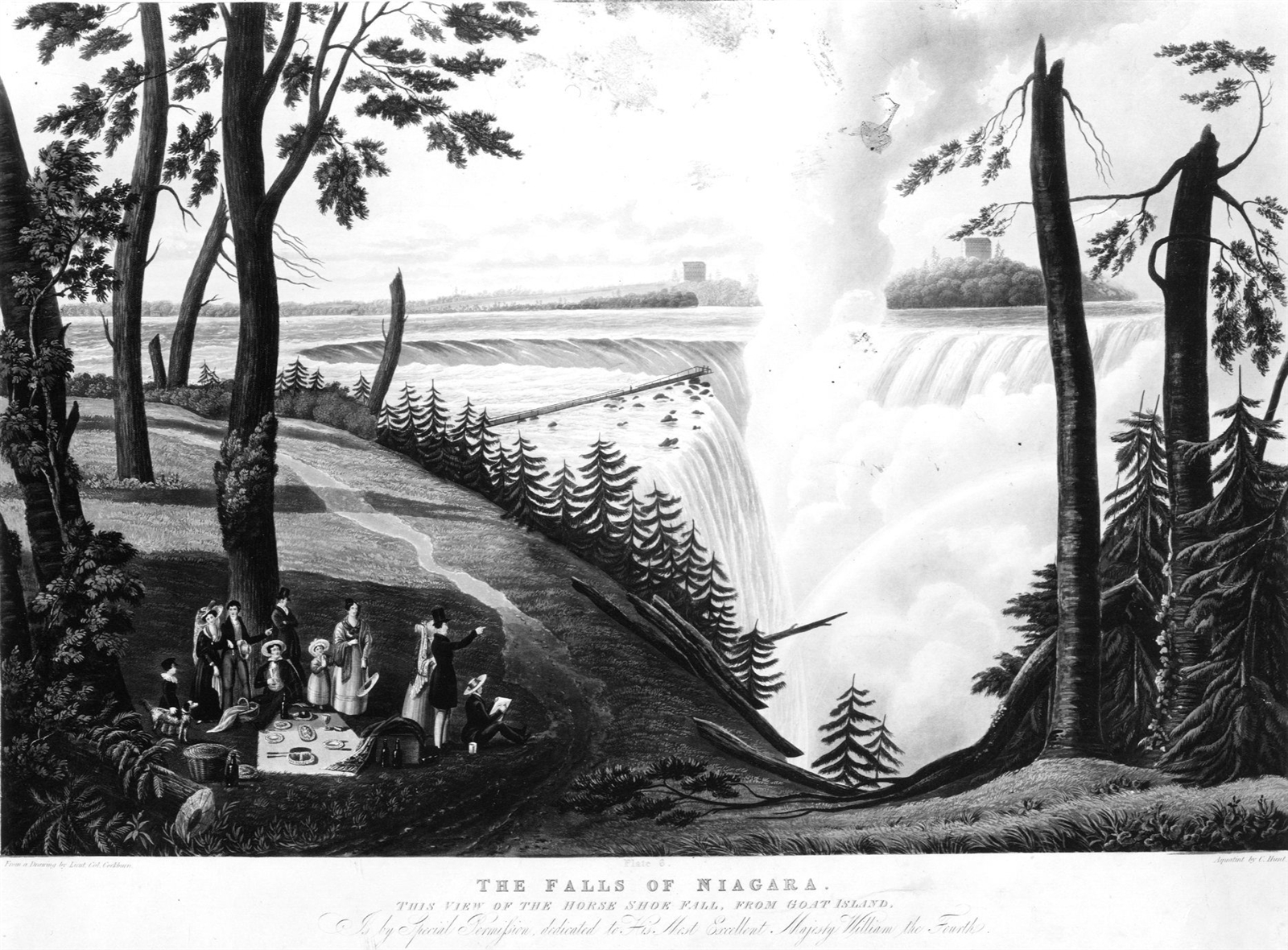 """An illustration of Niagara Falls in 1833, similar to how it would have looked when Sam Patch jumped in 1829. This is a drawing credited to """"Lieut. Col Cockburn,"""" """"dedicated to His Most Excellent Majesty William the Fourth"""" and labeled """"The Falls of Niagara."""" (Buffalo News archives)"""
