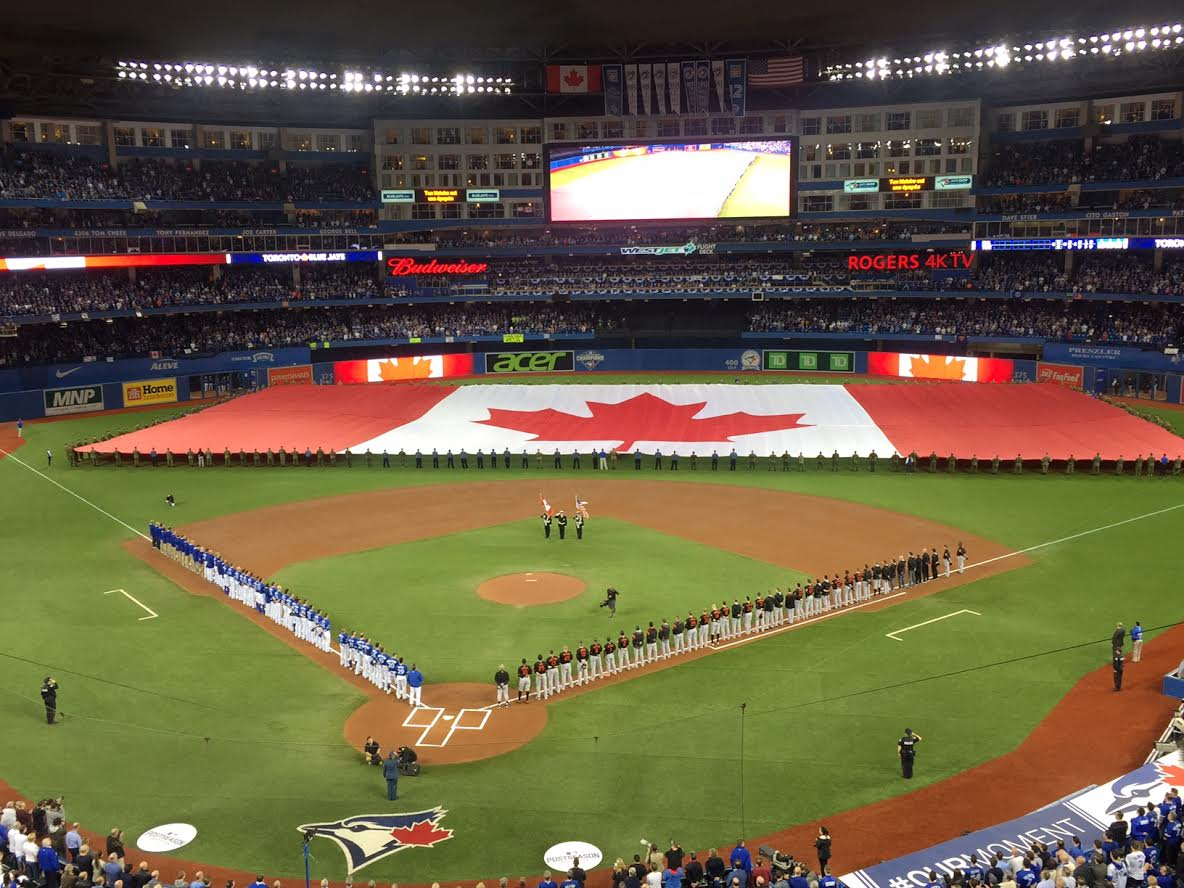 The Rogers Centre was decked out during the anthems Tuesday night (Mike Harrington/Buffalo News).