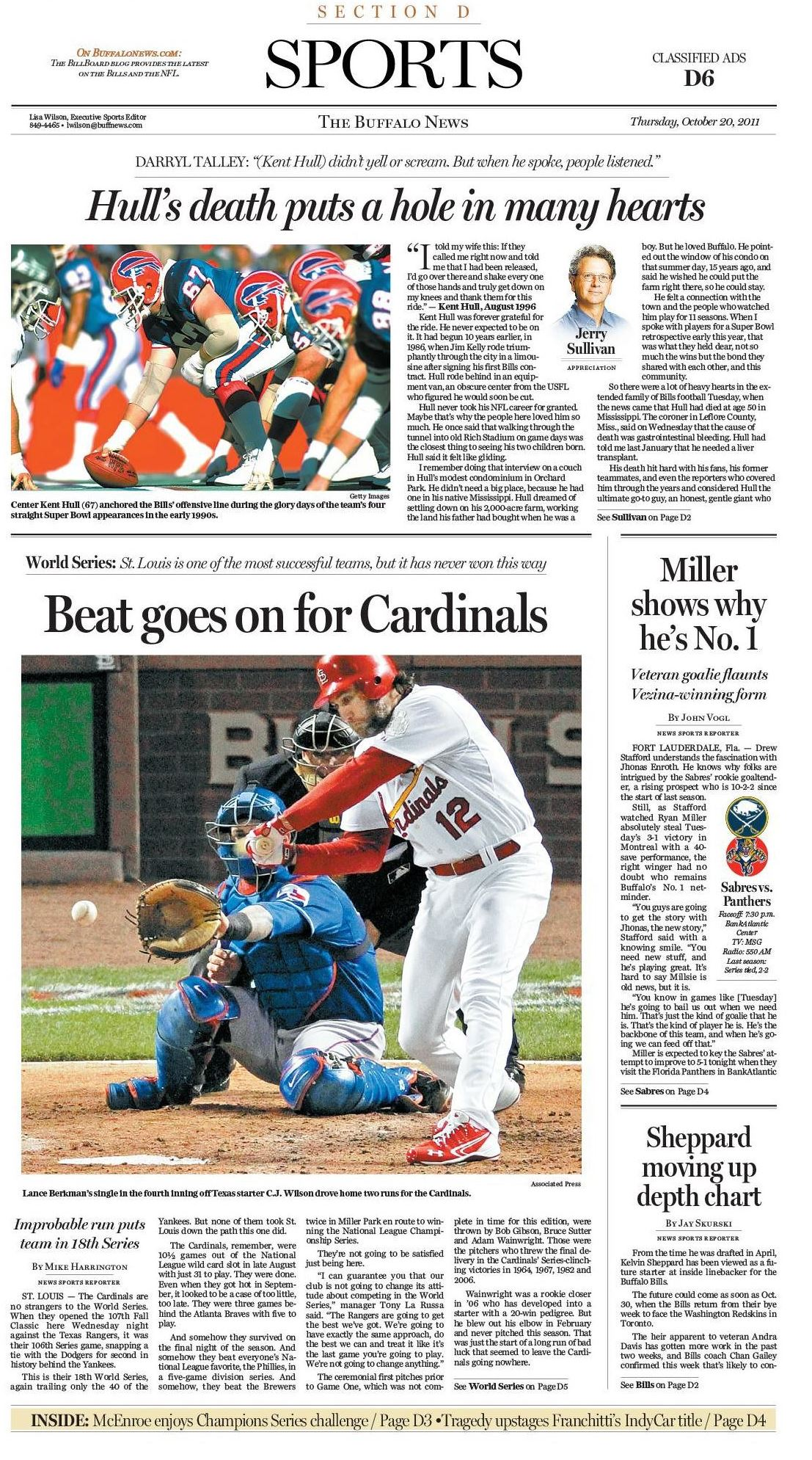 The News' Sports cover on Oct. 20, 2011, two days after the passing of Kent Hull.