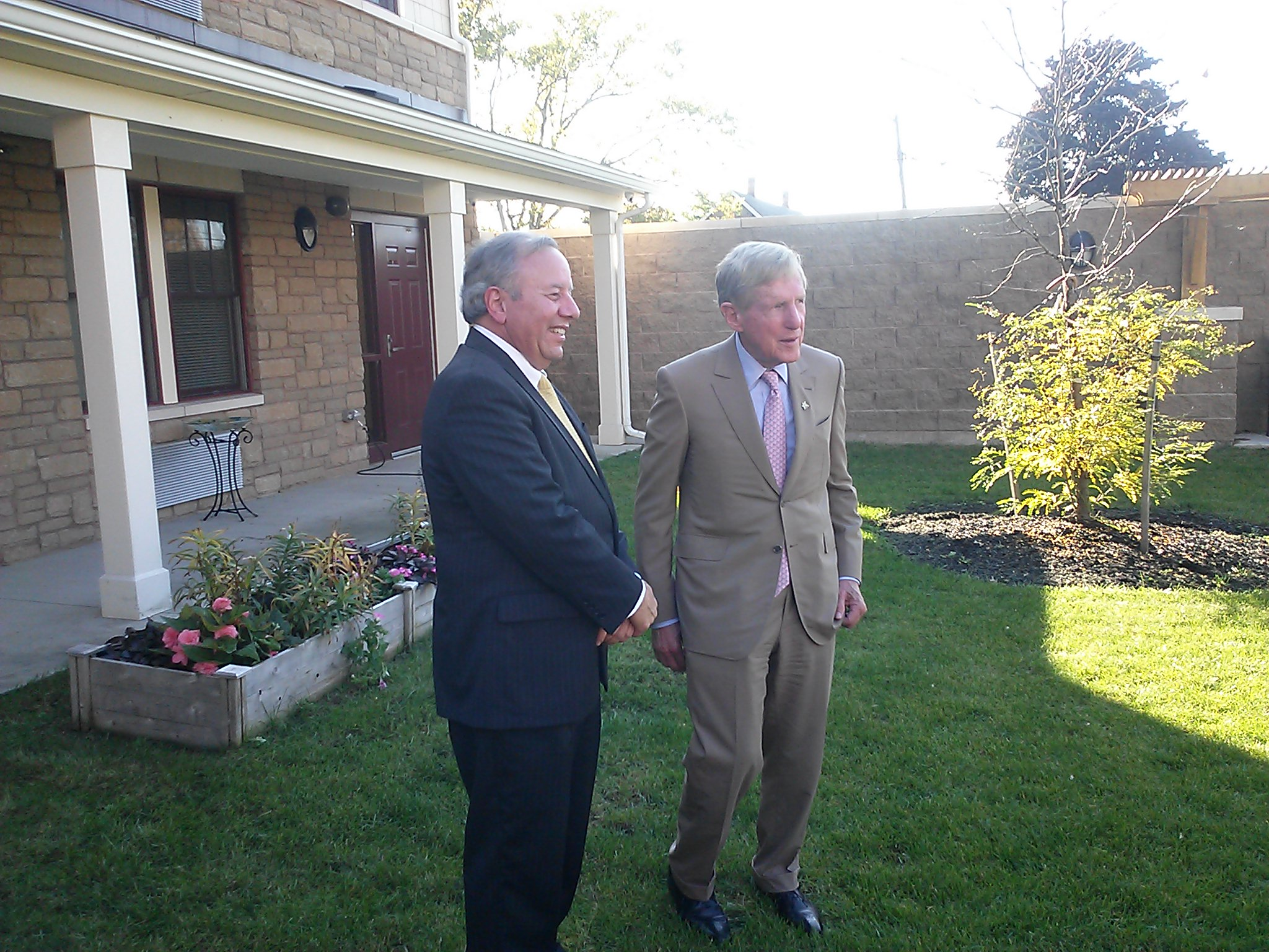 Federal Home Loan Bank of New York President Jose Gonzalez (left) and M&T Bank chairman and CEO Robert G. Wilmers, at Hope Gardens on Wednesday afternoon.