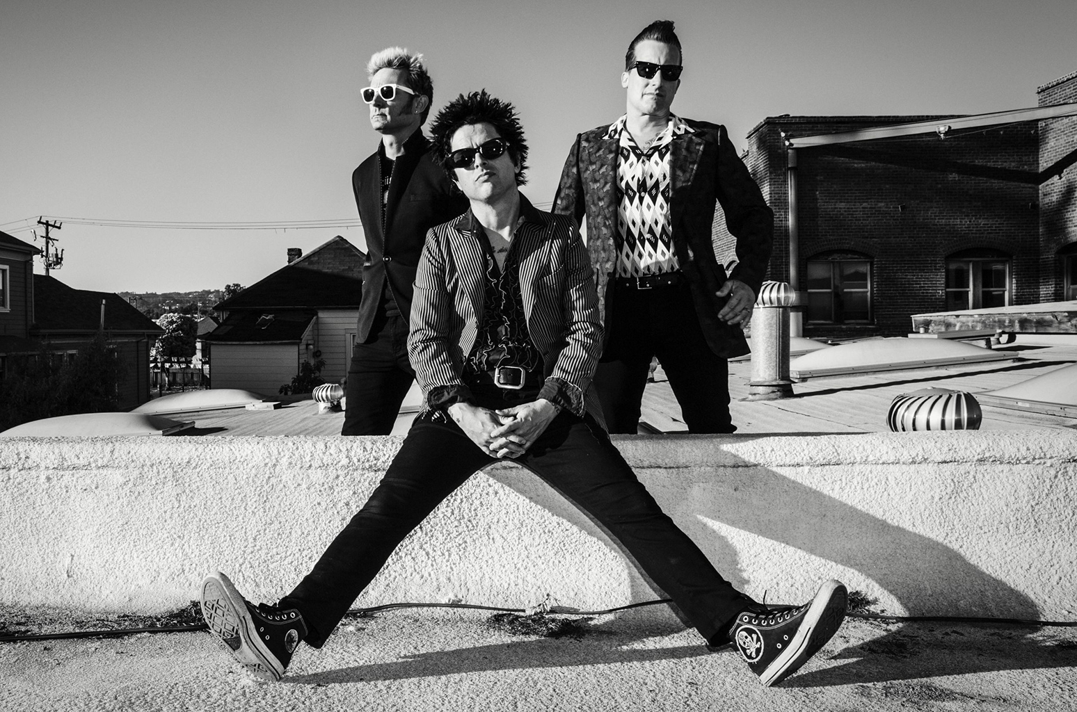 Green Day. Left to right: Mike Dirnt, Billie Joe Armstrong, Tre Cool. Photo by Frank Maddocks.