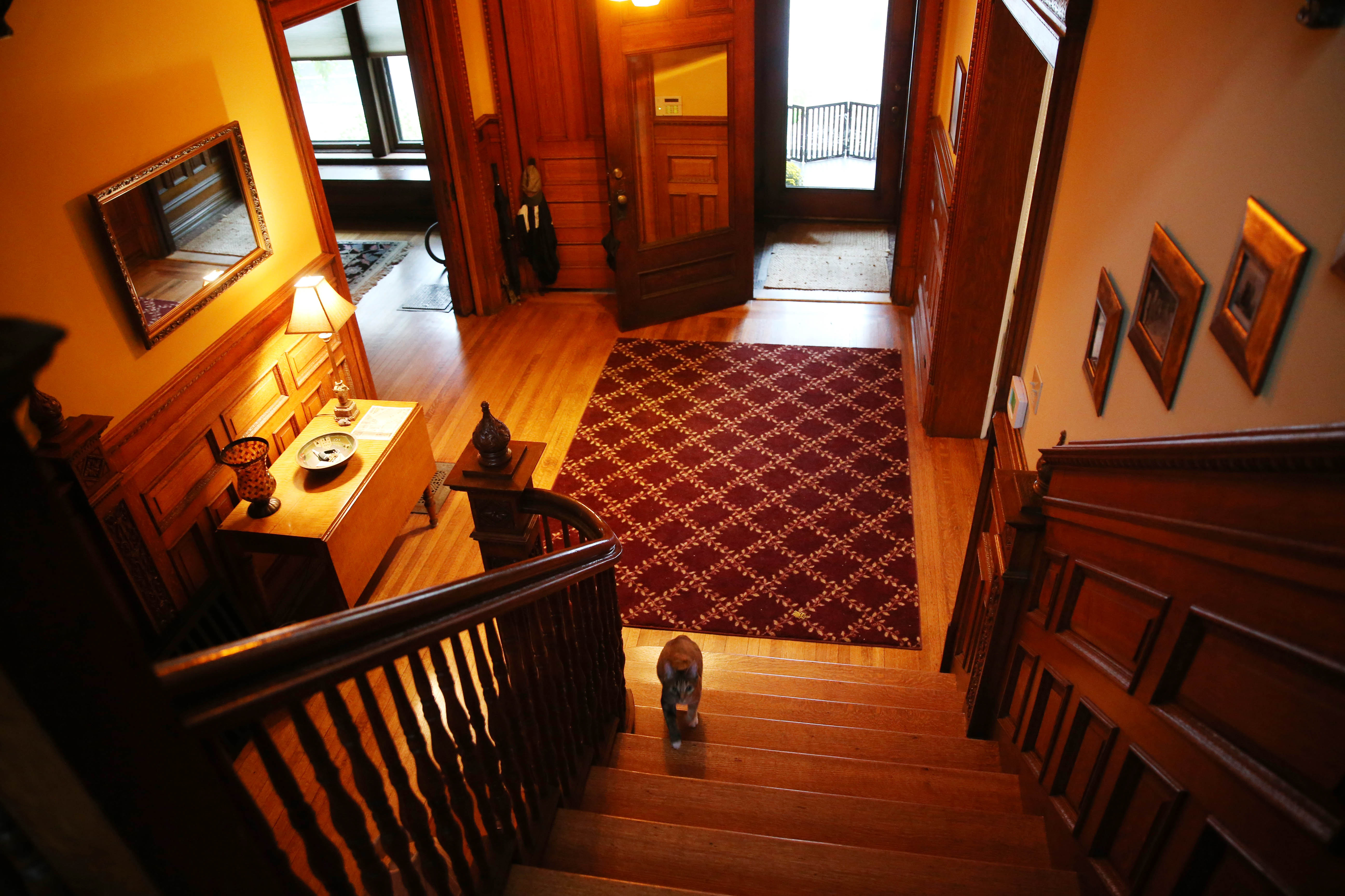 Whispers for decades have surrounded this house on Richmond Ave. The present tenant felt someone push her from behind while she was on the stairs ( about three steps from the bottom) and she tumbled to the floor. Photo taken, Friday, Oct. 21, 2016. (Sharon Cantillon/Buffalo News)