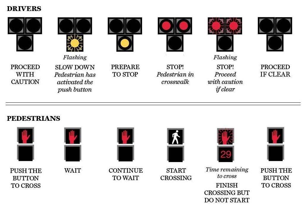 Here's how a HAWK crosswalk signal works.