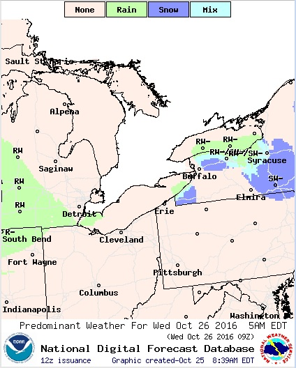 Snow is forecast in some areas of Chautauqua County and in higher elevations east of Buffalo in the wee hours of Wednesday morning. (National Weather Service)