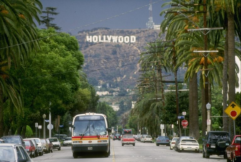 The Hollywood sign in a picture from 1992, the last year the Bills played the Los Angeles Rams. (Getty Images)