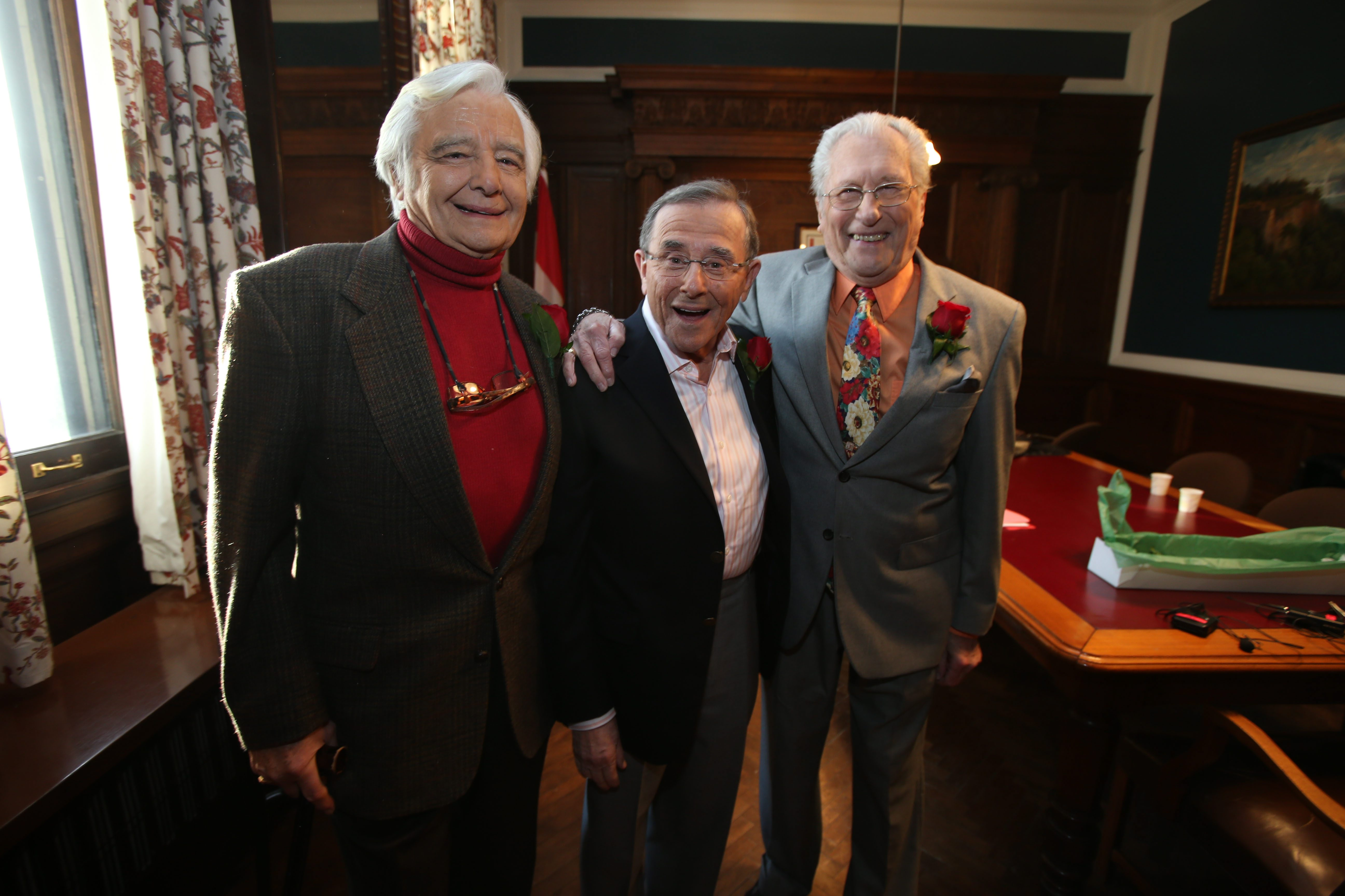 L to R: Rick Azar, Irv Weinstein and Tom Jolls, former television journalists for WKBW-TV in Buffalo, pose for a photo backstage before appearing in the Giants of Buffalo: Television program at the Buffalo History Museum, Friday, March 21, 2014. (Charles Lewis/Buffalo News)