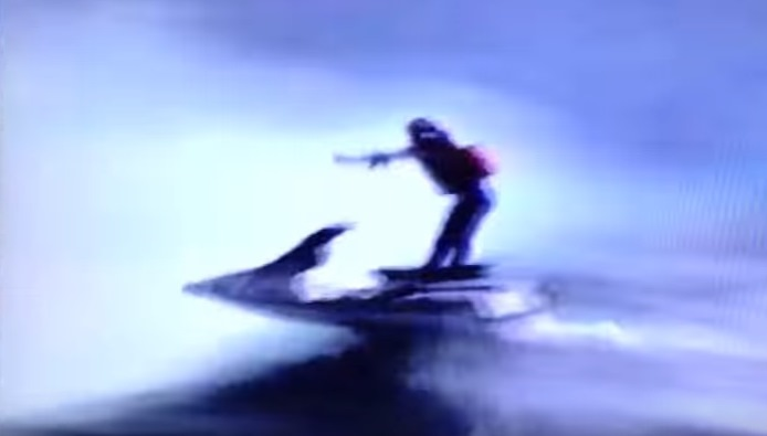 A video still shows Robert Overacker on his jet ski at the brink of the falls.