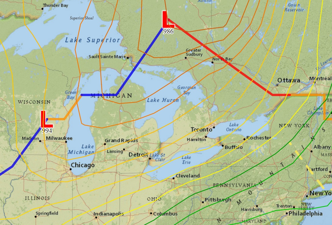 A tight air pressure gradient across upstate New York will result in strong southwest winds Tuesday. Later in the day, the cold front (marked by blue) approaches the Buffalo Niagara region. (NWS graphic)