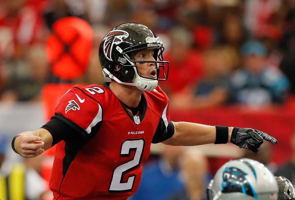 The Bills will try to contain Matt Ryan and his many weapons. (Getty Images)