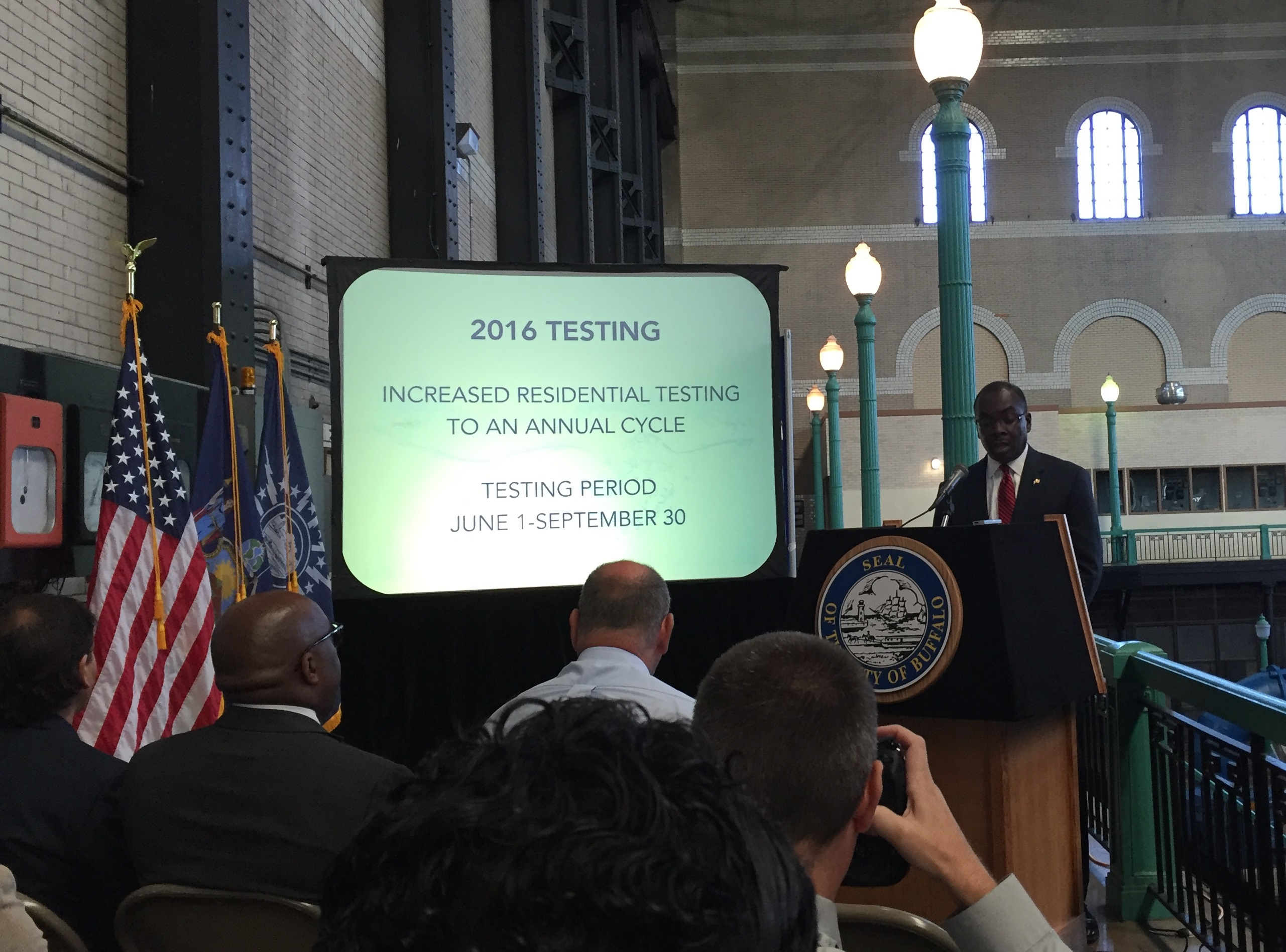 Buffalo Mayor Byron W. Brown announces results of drinking water testing from earlier this year during a news conference at the Col. Francis G. Ward Pumping Station. (Aaron Besecker/Buffalo News)