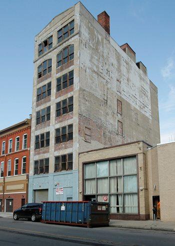 The former Loews Theater warehouse, 510 Washington St. (Derek Gee/Buffalo News)