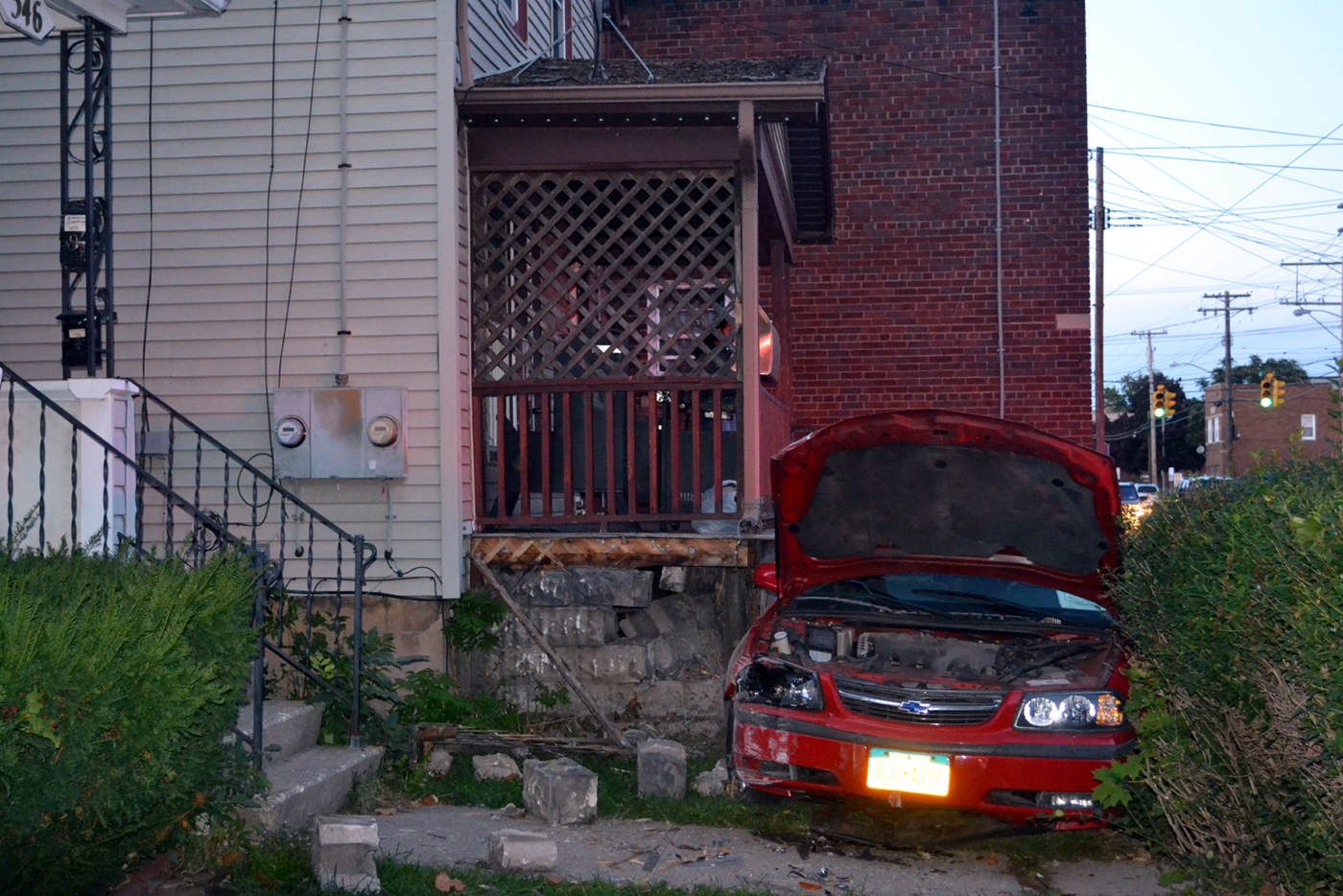 The car that crashed into a home on 19th Street in Niagara Falls. (Larry Kensinger/Contributor)