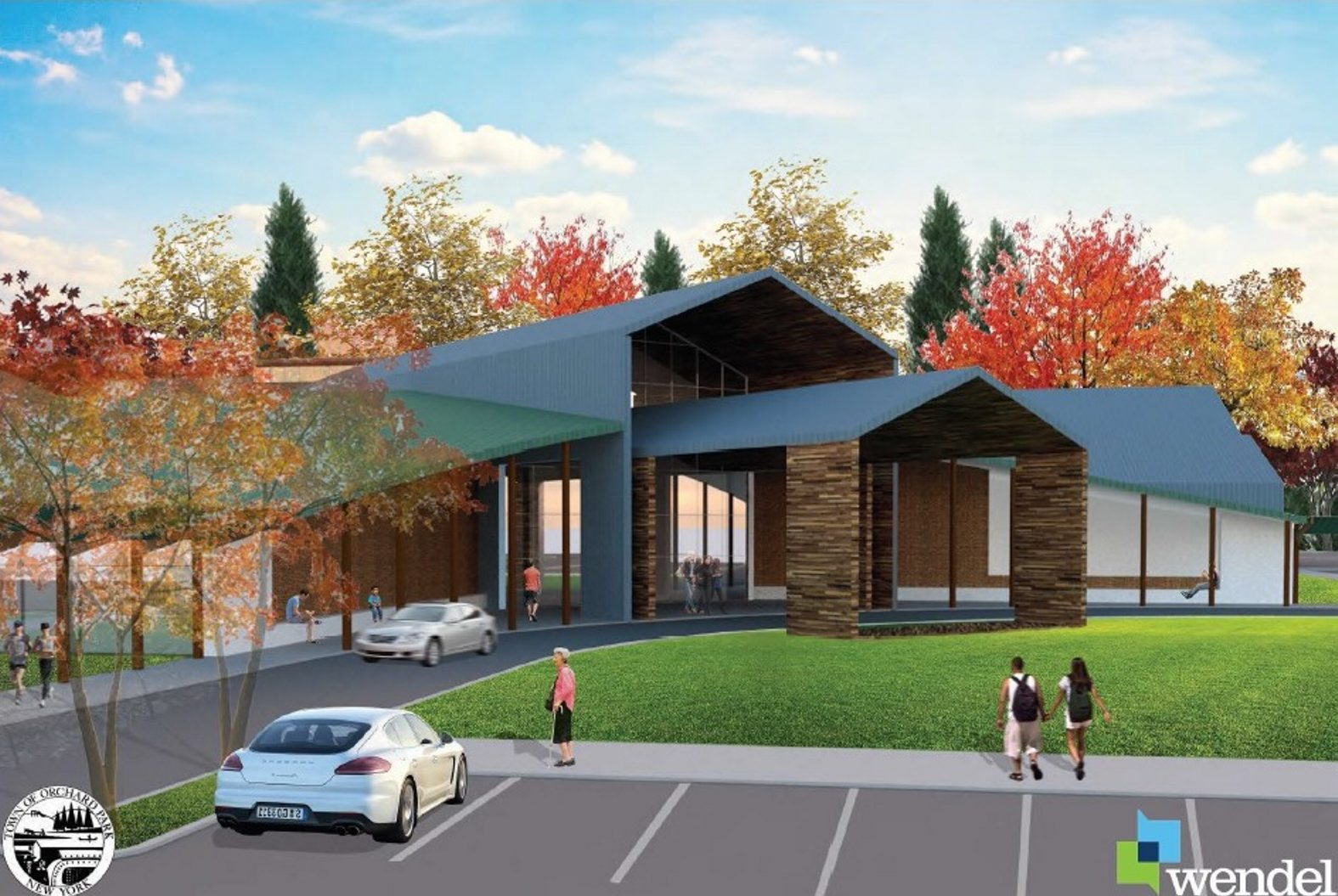 An architect's rendering of the proposed Orchard Park Community Center.